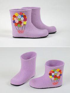 "Felted House Shoes | Тапочки валяные детские ""На воздушном шаре"" — работа дня на Ярмарке Мастеров"