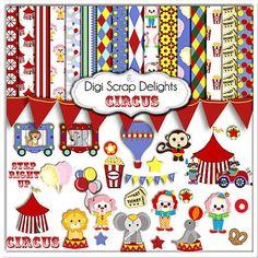 Circus Clip Art  Circus Animals Scrapbook Kit by DigiScrapDelights, $5.00