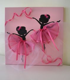 12 X 12 Dancing Ballerinas canvas painting in pink. Decorated with tulle and pink ribbon. Great wall decor for any baby or toddler girls room. Cute gift idea for little ballerina lovers. Tutu Rose, Pink Tutu, New Baby Girl Congratulations, Tulle Decorations, Paper Flower Patterns, Ballerina Birthday Parties, Little Ballerina, Boy Decor, Room Wall Decor