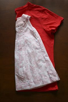 Turn a T-shirt into a dress for your toddler. Very simple.