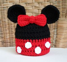 Disney Inspired Minnie Mouse Ears Crochet Hat with Bow in Red or Pink, Newborn through Adult Sizes by TampaBayCrochet on Etsy