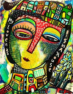 Many patterns are used in this piece, creating an intricately abstracted portrait of a woman's face. Credit: My Love Is As Big As A House SILBERZWEIG by SandraSilberzweigArt 8th Grade Painting, 8th Grade Art, Cubist Portraits, Abstract Portrait, Cuadros Pop Art, Handmade Wall Clocks, Bokashi, Picasso Art, Ecole Art