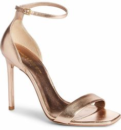 Metallic Leather, Womens High Heels, Ankle Strap Sandals, Stiletto Heels, Saint Laurent, Nordstrom, Chic, Amber, Shoes