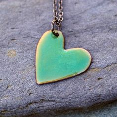 Enamel Heart Pendant Necklace Copper Enameled Jewelry by Venbead, $25.00