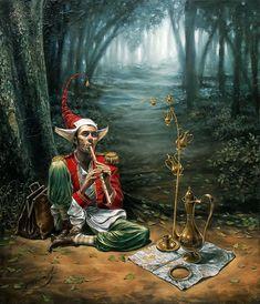 Michael Cheval - Flauta mágica, óleo sobre lienzo