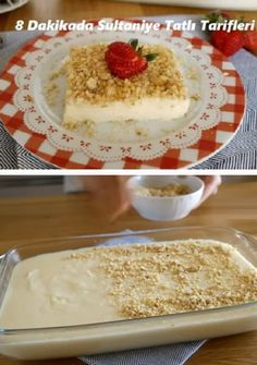 Sultaniye dessert recipes in 8 minutes - Kuchen - Turkish Turkish Recipes, Vanilla Cake, Ham, Dessert Recipes, Cake Recipes, Oatmeal, Deserts, Food And Drink, Pudding