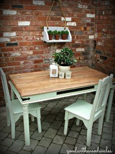Shabby Chic Distressed Dining Table and 2 Chairs   eBay