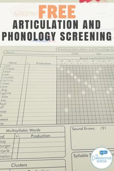 Free Articulation and Phonology Screener for Preschool Speech Therapy, free screener for identifying speech delays for speech pathologists in early intervention or preschool settings Preschool Speech Therapy, Articulation Therapy, Speech Pathology, Speech Therapy Activities, Speech Language Pathology, Speech And Language, Speech Therapy Organization, Articulation Activities, Phonological Processes