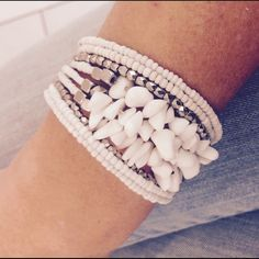 Rock bead boho statement cuff Handmade in Bali, beautiful white seed bead statement cuff with gorgeous silver bead details. Strung from memory wire for a gently universal fit. Gorgeous boho statement cuff:) happy shopping! Handmade Jewelry Bracelets