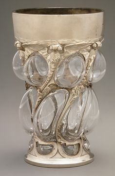 Beaker, Emmanuel Jules Joe-Descomps, French circa 1903 Glass & Silver✿≻⊰❤⊱≺✿