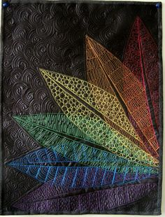 Art quilt fiber art wall hanging Rainbow Leaves by marytequilts, $95.00