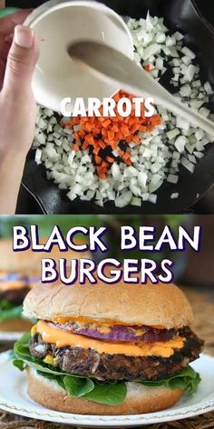 Vegan Black Bean Burgers is a healthy recipe & one of the most popular burgers out there. An added bonus is these have little bits of carrot and corn. #veganblackbeanburgers #blackbeanburgersrecipe #healthyblackbeanburgers #blackbeanburger #easyblackbeanburger Large Zucchini Recipes, Carrot Recipes, Veg Recipes, Vegan Recipes Easy, Sandwich Recipes, Vegetarian Cooking, Vegetarian Recipes, Vegetarian Barbecue, Vegan Burgers