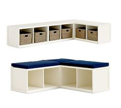PLAYROOM (get a cushion w/ fun fabric upholstered)  Build your own Ryland Modular Banquette #potterybarn