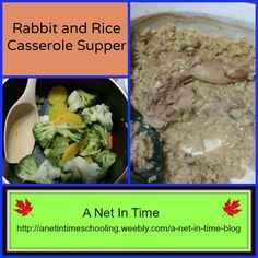 Rabbit and Rice Casserole Supper.   Good food, easy to make. #recipe #rabbit #rice #casserole