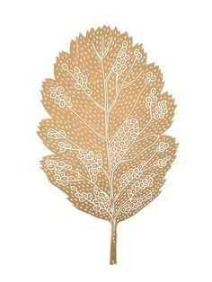 Monika Petersen - OAK Leaf Gold on White A3