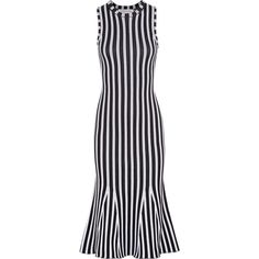 Victoria Beckham Fluted ribbed striped cotton-blend dress ($1,400) ❤ liked on Polyvore featuring dresses