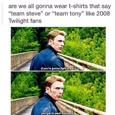 Who's side are YOU on?  #TeamSteve #TeamTony / http://saltlakecomiccon.com/slcc-2015-tickets/?cc=Pinterest