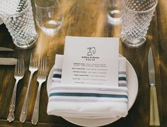 A simple menu for a wedding dinner at Chicago's Little Goat Diner | Photo by Artistrie Co.