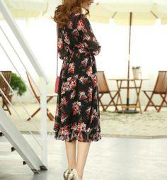 Bohemian Floral Print High Waist Chiffon 3/4 Sleeves Scoop Neck Dress For Women
