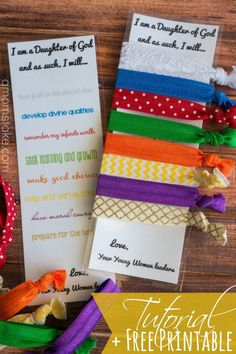 DIY Hair Ties tutorial with step-by-step directions! Plus, a cute printable bookmark card with the Young Women's Personal Progress values. Great idea for New Beginnings or YW in Excellence handout or favor.