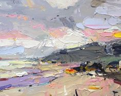 """An #afternoon walk on an autumn coast. Waves pounded pastels on the shore. Land and sand catch and hold the red and yellow patches, throwing #colour on the sky. """"Autumn Coast"""", 35X45cm, oil on board. #autumn #interiordesign #designerart #artist #artcollector #artlover #paintings"""