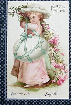 Clapsaddle - Easter Girl in pink with huge egg & flowers - Gold accents