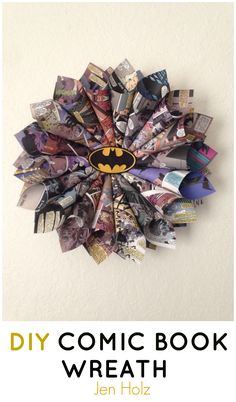 Jen Holz how to make a comic book wreath out of old comic book pages.