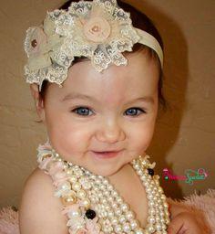 20 off entire orderAntique flower headband baby by WinterScarlett, $15.99