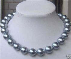 """8mm Silver Gray SEA SHELL PEARL NECKLACE 17.5"""" US $7.99"""