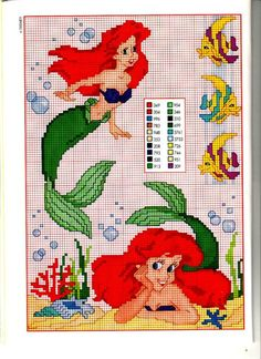 more Little Mermaid cross stitch patterns on page Disney Cross Stitch Patterns, Cross Stitch For Kids, Cross Stitch Love, Beaded Cross Stitch, Cross Stitch Charts, Cross Stitch Designs, Cross Stitch Embroidery, Patchwork Disney, Disney Quilt