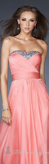 coral formal bridesmaid gown