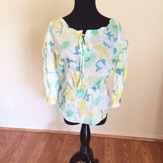 Floral blouse, green floral by Bianca Nygard  Spring blouse, long sleeves, green floral by Bianca Nygard , Never worn   size : 6   Material: 100% Cotton,      I do bundle to save you money Bianca nygard Tops Blouses