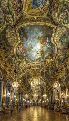 The Hall of Mirrors, Palace of Versailles, France (windows on the left, mirrors on the right)