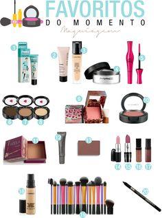 Meus produtos de maquiagem favoritos do momento.