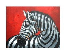Zebra Against a Red Background Oil Painting on Canvas