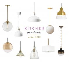 kitchen pendant lighting under $200 / gold and chic / kitchen pendants / for over our kitchen island / modern and bright lighting