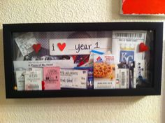 A shadow box of tickets to theatre, games, etc. from our first year together.