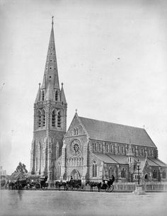 Christchurch Cathedral Nz History, Christchurch New Zealand, South Island, Back In Time, Canterbury, Old Photos, Barcelona Cathedral, The Past, Street View
