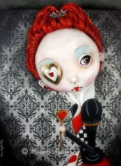 Steampunk Soul Pop Surrealism Original Painting Queen of Hearts by Michele Lynch | eBay