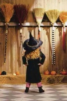 """Witch"" broom shall I choose today? Cute little girl witch Halloween costume Fröhliches Halloween, Holidays Halloween, Halloween Decorations, Halloween Costumes, Halloween Clothes, Halloween Sayings, High Holidays, Halloween Movies, Hallows Eve"