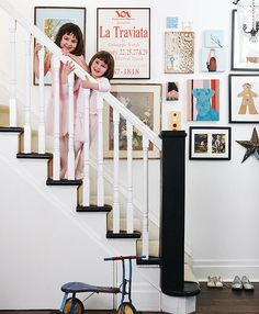 gallery wall, staircase, graphic word art, kids art