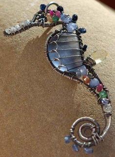 MULTICOLOR seahorse wire wrapped seaglass by PalmerasDesign