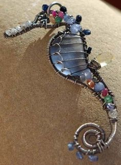 MULTICOLOR seahorse wire wrapped seaglass by PalmerasDesign