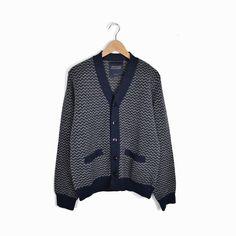 ROGUES GALLERY Men's Wool Cardigan Grandpa Sweater in Navye Blue Zig Zag - M #RoguesGallery #Cardigan