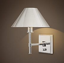 Petite Candlestick Sconce Polished Nickel With Linen Shade Sconces Restor
