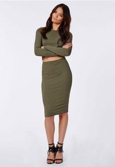 Alica Crepe Midi Skirt Khaki - Skirts - Midi Skirts - Missguided ...