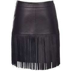 SCOOP Leather Fringe Mini Skirt (1 475 PLN) found on Polyvore featuring skirts, mini skirts, bottoms, faldas, black, leather mini skirt, short black skirt, black fringe mini skirt, short black mini skirt and black leather skirt