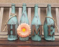 Botella vino casa manto o estante decoración por RusticHousewives