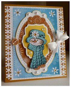 Heartfelt Creations   Country Blue Snowman Card