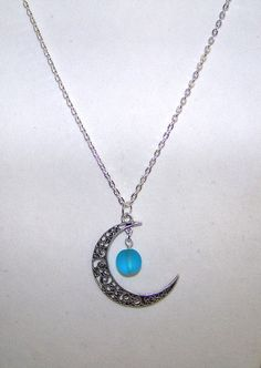 NecklaceFiligree Moon & Sea Glass Orb Moon by CrystalinasCreations